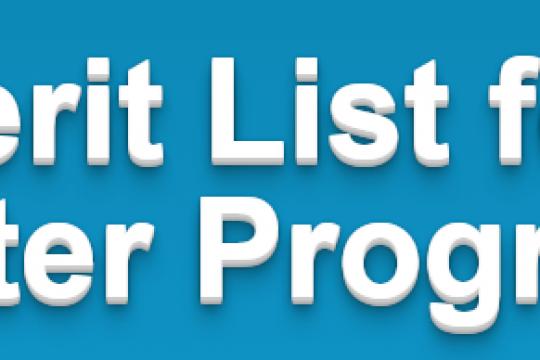 Merit List (3rd) for Master Programs