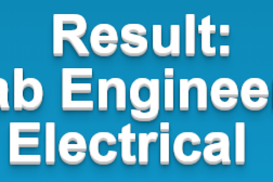 Test Result for the post of Lab Engineers Electrical