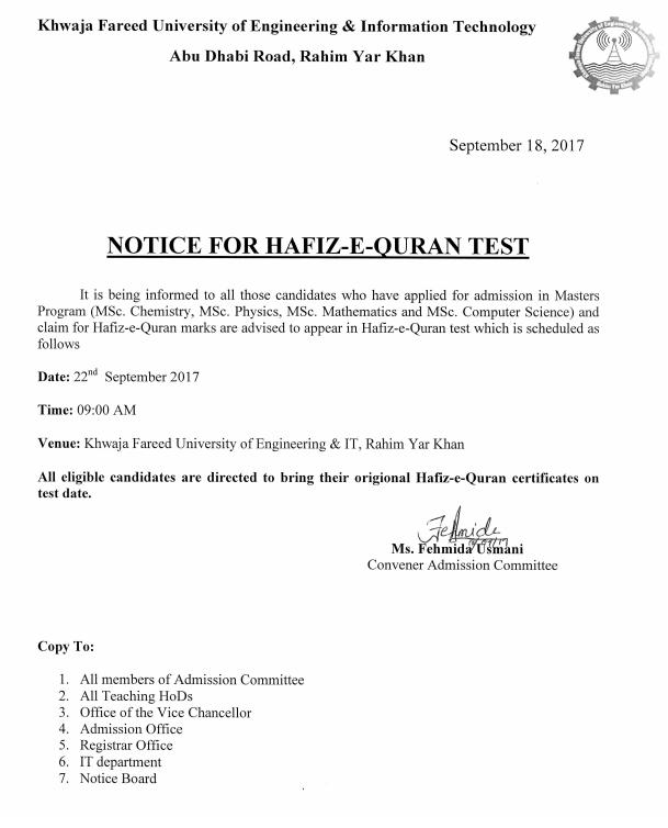 Notice for Hafiz-e-Quran Test ( Masters Program ) - KFUEIT