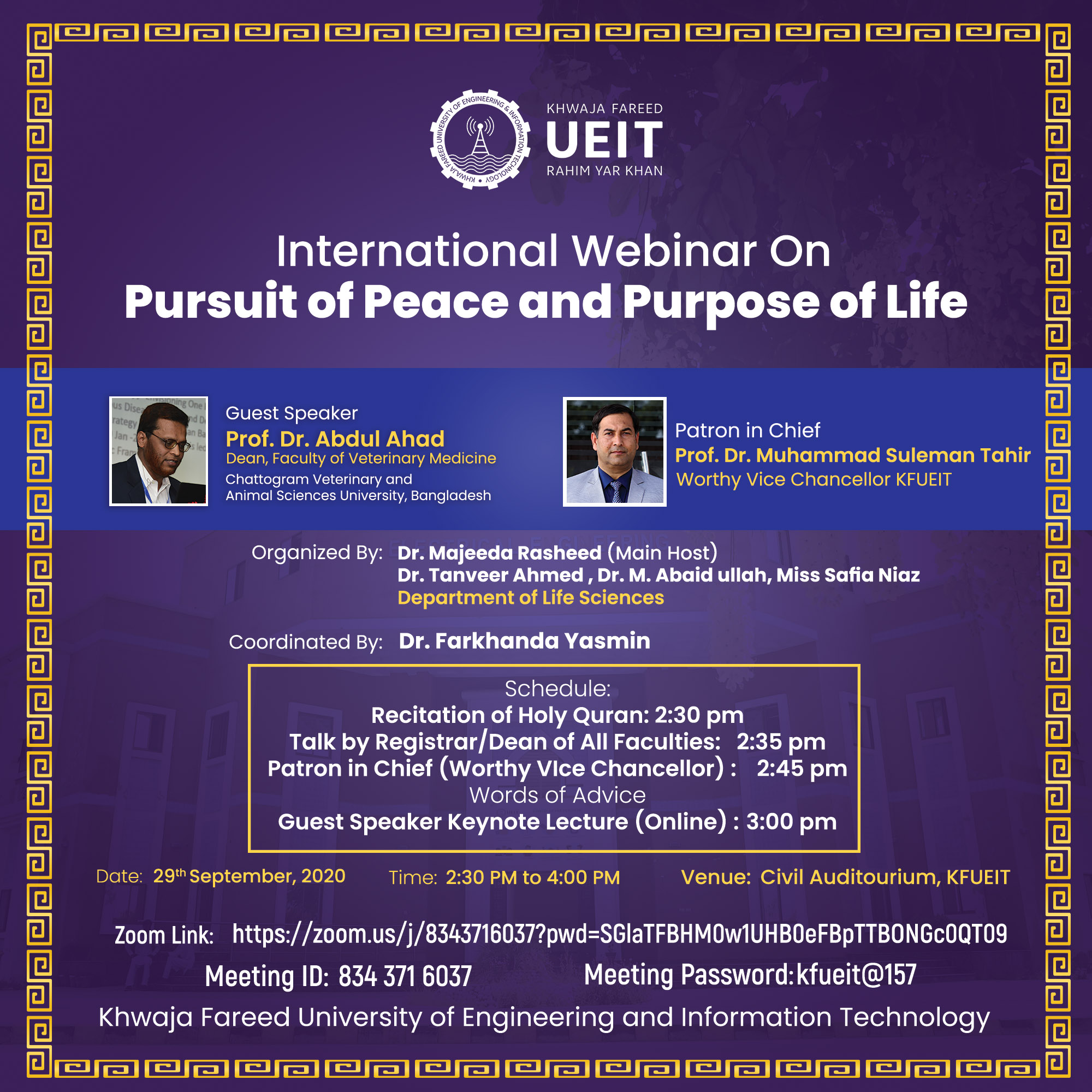 International Webinar on Pursuit of Peace and Purpose of Life