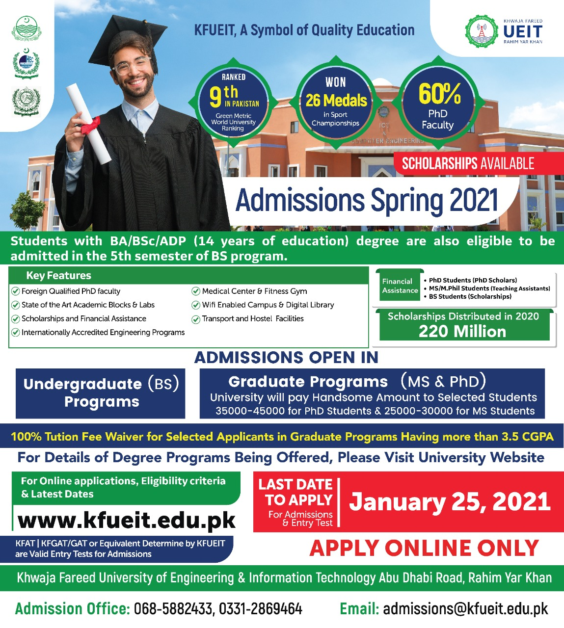 Admission Open for Spring 2021